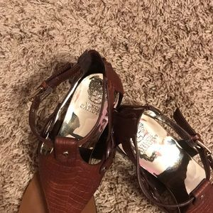fddef146b14 Vince Camuto Shoes - Vince Camuto Brown Averie Harness Wedge Sandal